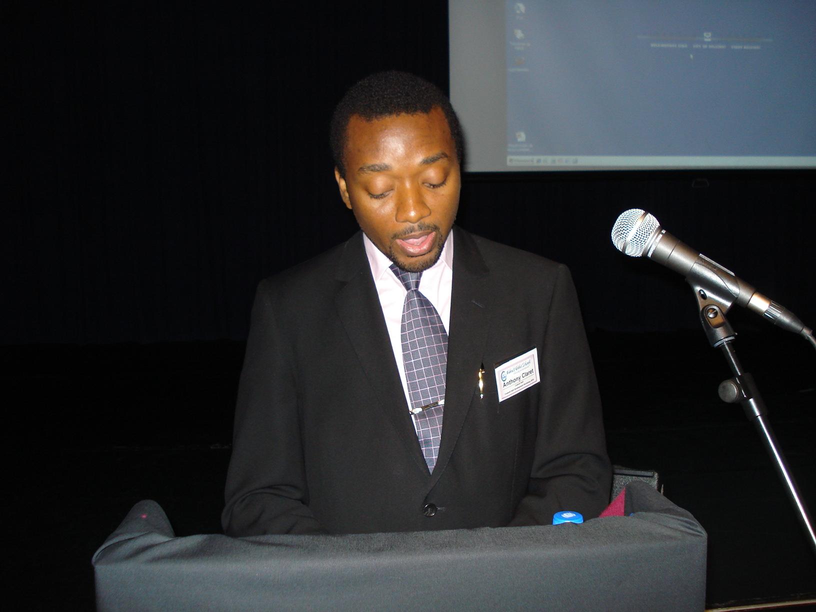 Anthony-Claret Onwutalobi giving Speech
